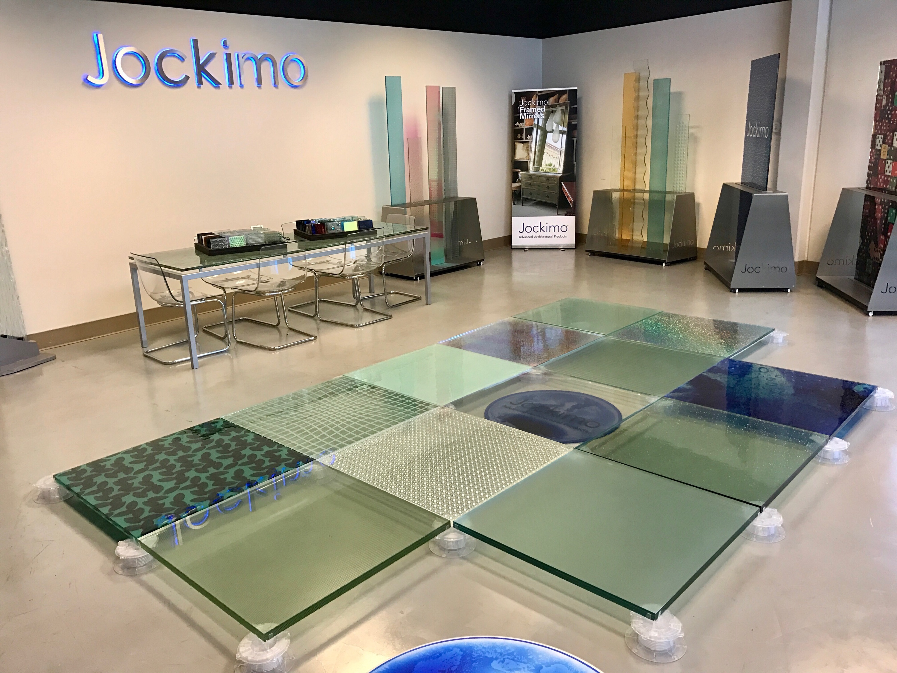 Glass flooring display at Jockimo HQ